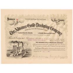 Advance Gold-Dredging Co. Stock Cert.   (106637)