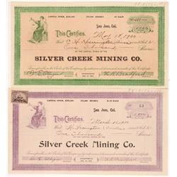 Silver Creek Mining Co. Stock Certificates (Quicksilver)   (107137)
