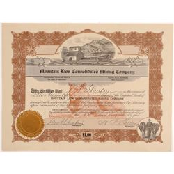 Mountain Lion Consolidated Mining Co. Stock Certificate   (107118)