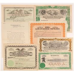 """Sierra"" California Mining Stock Certificates   (107134)"