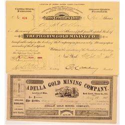 Two Sierra County Mining Stock Certificates   (104417)