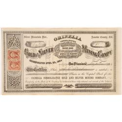 Orinelia Consolidated Gold & Silver Mining Company Stock Certificate   (108002)