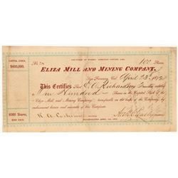 Eliza Mill & Mining Company Stock Certificate   (104412)