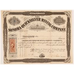 Sonoma Quicksilver Mining Company of California Stock Cert   (106636)