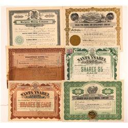 Mariposa & Sonora Area Mining Stock Certificates   (107276)