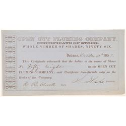 Open Cut Fluming Company Stock Certificate   (107031)