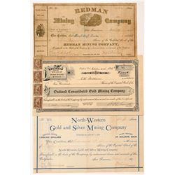 Three Different California Mining Stock Certificates   (107035)