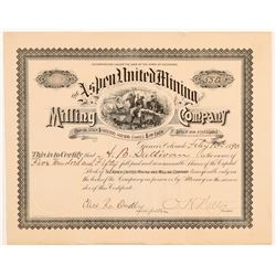 Aspen United Mining & Milling Co. Stock Certificate   (107190)