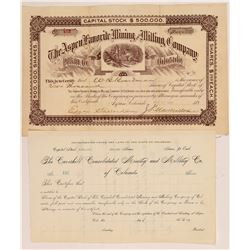 Two Different Aspen Mining Stock Certificates   (107192)