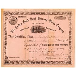 Collom Black Hawk Dressing Works Co. Stock Certificate   (104474)
