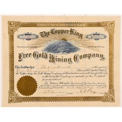 Copper King Free Gold Mining Company Stock Certificate   (104220)