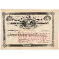 Grizzly Gulch & Monarch Mining Co. Stock Certificate   (104461)