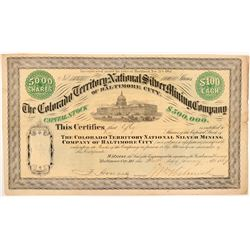 Colorado Territory National Silver Mining Co. Stock Certificate   (104471)