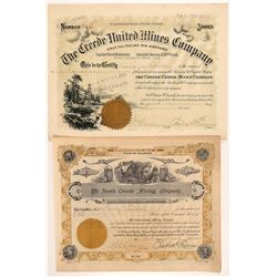Two Different Creede Mining Stock Certificates   (103483)