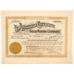 Anaconda Extension Gold Mining Co. Stock Certificate Signed by Tabor   (104467)
