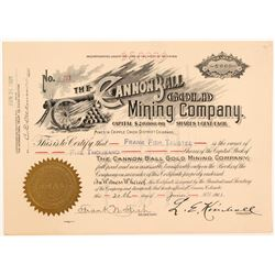 Cannon Ball Gold Mining Co. Stock Certificate   (104193)