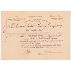 Cosmos Gold Mining Company Stock Certificate -- Herbert Hagerman Signed   (104247)