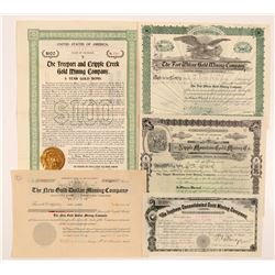 Cripple Creek Mining Bond & Stock Certificates   (104222)