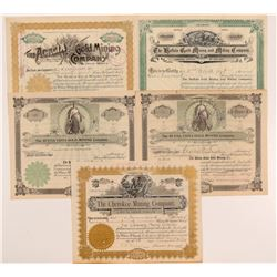 Five Cripple Creek Mining Stock Certificates   (107181)