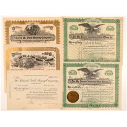 Five Cripple Creek Mining Stock Certificates   (104221)