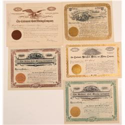 Five Different Cripple Creek Mining Stock Certificates   (107182)