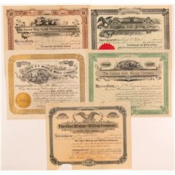 Five Different Cripple Creek Mining Stock Certificates   (107178)