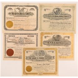 Five Different Cripple Creek Mining Stock Certificates   (107158)