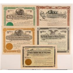 Five Different Cripple Creek Mining Stock Certificates   (107157)