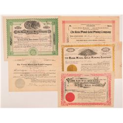 Five Different Cripple Creek Mining Stock Certificates   (104242)
