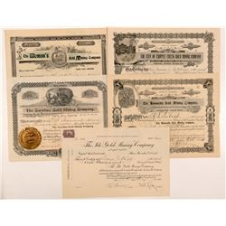 Five Different Cripple Creek Mining Stock Certificates   (104231)