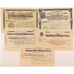 Five Different Cripple Creek Mining Stock Certificates   (104229)