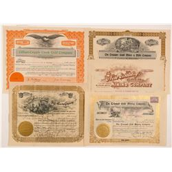 Five Different Cripple Creek Mining Stock Certificates   (104223)