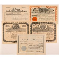 Five Different Cripple Creek Mining Stock Certificates   (104214)