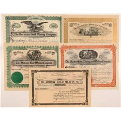 Five Different Cripple Creek Mining Stock Certificates   (104213)