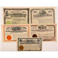 Five Different Cripple Creek Mining Stock Certificates   (104212)