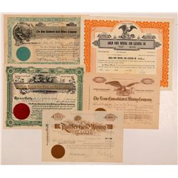 Five Different Cripple Creek Mining Stock Certificates   (104204)