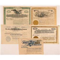 Five Different Cripple Creek Mining Stock Certificates   (104203)