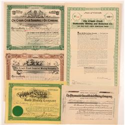 Five Different Cripple Creek Mining Stock Certificates   (104200)