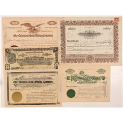 Five Different Cripple Creek Mining Stock Certificates   (104199)