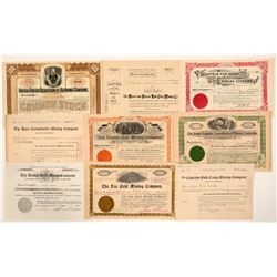 Nine Different Cripple Creek Mining Stock Certificates   (104239)
