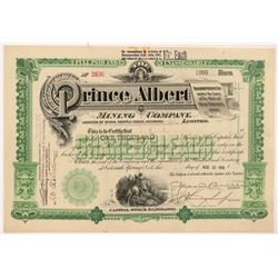 Prince Albert Mining Company Stock Certificate   (103491)