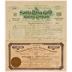 Santa Rosa Gold Mining Co. Stock Certificates   (104339)