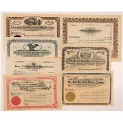 Seven Different Cripple Creek Mining Stock Certificates    (104211)
