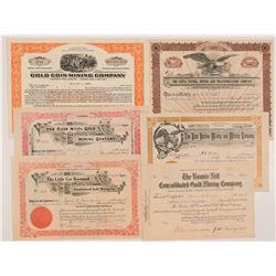 Six Different Cripple Creek Mining Stock Certificates   (104243)