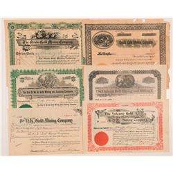 Six Different Cripple Creek Mining Stock Certificates   (104240)