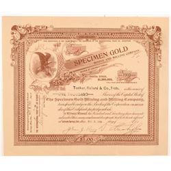 Specimen Gold Mining & Milling Co. Stock Certificate   (104192)