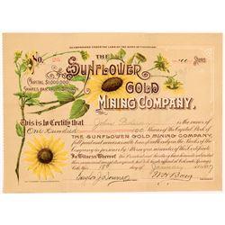 Sunflower Gold Mining Company Stock Certificate   (104338)