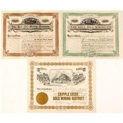 Three Different Bull Hill Mining Stock Certificates, Cripple Creek, CO   (59095)
