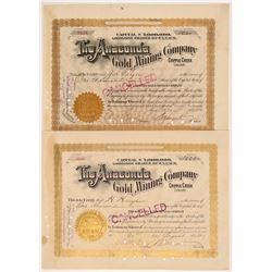 Two Anaconda Gold Mining Co. Stocks signed by David Moffat   (107154)
