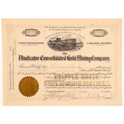 Vindicator Cons. Gold Mining Company Stock Certificate   (104227)